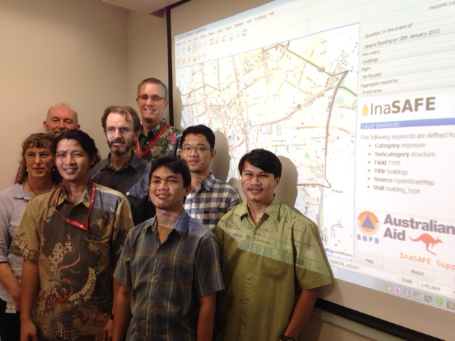 InaSAFE scientists from Indonesia, South Africa and Australia moments after InaSAFE 3.0 goes live